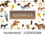 cartoon equestrian club concept ... | Shutterstock .eps vector #1132432286