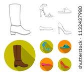 blue high heeled sandals ... | Shutterstock .eps vector #1132437980