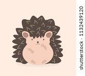 cute flat hedgehog cartoon... | Shutterstock .eps vector #1132439120