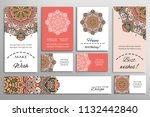 vector set of greeting cards or ... | Shutterstock .eps vector #1132442840