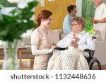 tender caretaker making an... | Shutterstock . vector #1132448636