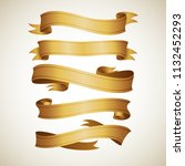 realistic gold vector ribbons... | Shutterstock .eps vector #1132452293