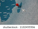 plane fly on painted map  macro ... | Shutterstock . vector #1132455506