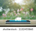 truck flat icon on modern smart ... | Shutterstock . vector #1132455860