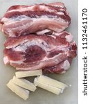 pork meat and bacon | Shutterstock . vector #1132461170