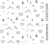 line hand drawn funny pattern... | Shutterstock .eps vector #1132471634