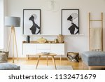 real photo of a small table... | Shutterstock . vector #1132471679