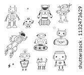 funny doodle robots vector... | Shutterstock .eps vector #1132473629
