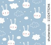 cute bunny vector pattern | Shutterstock .eps vector #1132475246