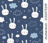 cute bunny vector pattern | Shutterstock .eps vector #1132475249