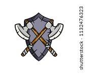 cartoon illustration   heraldic ... | Shutterstock . vector #1132476323