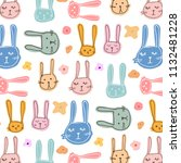 cute bunny and floral pattern... | Shutterstock .eps vector #1132481228