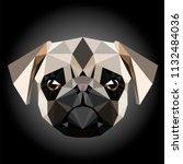 low poly triangular pug  pug... | Shutterstock .eps vector #1132484036
