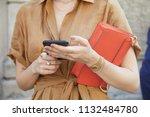 milan   june 17  woman with... | Shutterstock . vector #1132484780