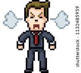 vector pixel art man angry... | Shutterstock .eps vector #1132485959