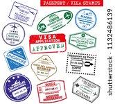 set of grungy visa and passport ... | Shutterstock .eps vector #1132486139