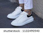 milan   june 17  man with white ... | Shutterstock . vector #1132490540
