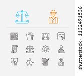 law icons set. contract and law ...