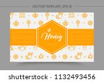 vector template with honey bee... | Shutterstock .eps vector #1132493456
