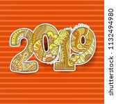 happy new year 2019 celebration ... | Shutterstock .eps vector #1132494980