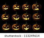 Stock vector set of jack o lanterns isolated on black 113249614