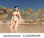 beautiful asian woman in bikini ... | Shutterstock . vector #1132498199