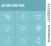 fauna icon set and snake with... | Shutterstock . vector #1132502213