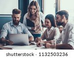 young businesspeople working... | Shutterstock . vector #1132503236