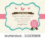 retro wedding invitation card | Shutterstock .eps vector #113250808