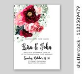 wedding invitation card flower... | Shutterstock .eps vector #1132509479