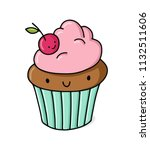 cartoon cute cupcake character. ...   Shutterstock .eps vector #1132511606