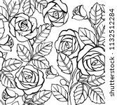 roses hand drawn seamless...   Shutterstock .eps vector #1132512284