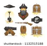 sea pirates  vector icon set   Shutterstock .eps vector #1132515188