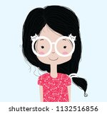 cute girl illustration... | Shutterstock .eps vector #1132516856
