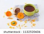 marigold or calendula herbal... | Shutterstock . vector #1132520606