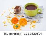 marigold or calendula herbal... | Shutterstock . vector #1132520609