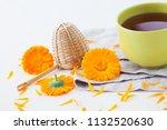 marigold or calendula herbal... | Shutterstock . vector #1132520630