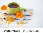 marigold or calendula herbal... | Shutterstock . vector #1132520633