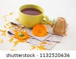marigold or calendula herbal... | Shutterstock . vector #1132520636