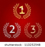Vector illustration of 1st; 2nd; 3rd awards golden emblems. Red background - seamless (with clipping mask)