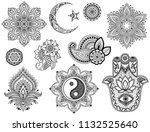 big set of mehndi flower... | Shutterstock .eps vector #1132525640
