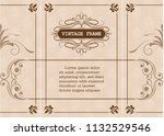 decorative frame in vintage... | Shutterstock .eps vector #1132529546