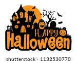 halloween greeting vector... | Shutterstock .eps vector #1132530770