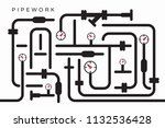 abstract symbolic heat supply... | Shutterstock .eps vector #1132536428