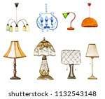 set of hand drawn watercolor... | Shutterstock . vector #1132543148