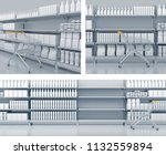 empty shelves in the... | Shutterstock . vector #1132559894