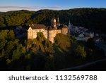 aerial view on loket castle ... | Shutterstock . vector #1132569788