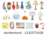 hand drawn watercolor set of... | Shutterstock . vector #1132572428