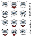 cartoon faces expression line... | Shutterstock . vector #1132573319