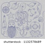 hand drawn vintage nautical set.... | Shutterstock .eps vector #1132578689